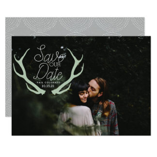 Rustic Antler Save the Date カード