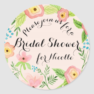 Rustic Blush Granny Chic Hipster Floral Bridal ラウンドシール