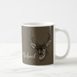 Rustic Burlap Look Deer Head Name | Monogram コーヒーマグカップ