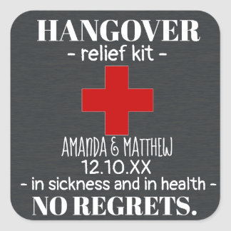 Rustic Chalkboard Hangover Relief Kit Favor スクエアシール