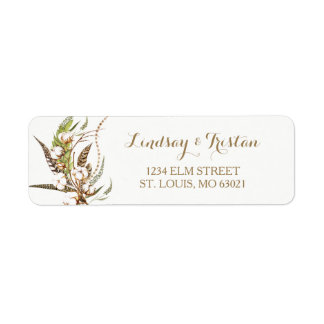 Rustic Cotton Floral Feather Bridal Shower ラベル