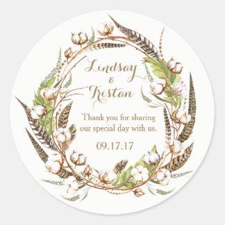 Rustic Cotton Floral Wedding ラウンドシール