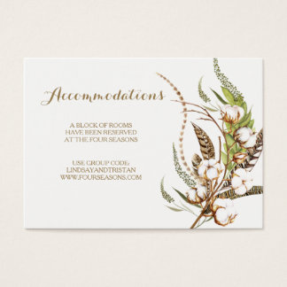 Rustic Cotton Floral Wedding Accommodation Card 名刺