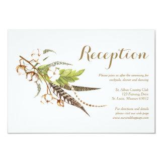 Rustic Cotton Floral Wedding Reception Card カード