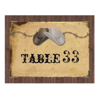 Rustic Country Cowboy Hats Barbed Table Number ポストカード