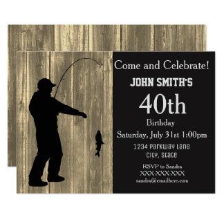 Rustic Country Fishing Birthday Invitations カード