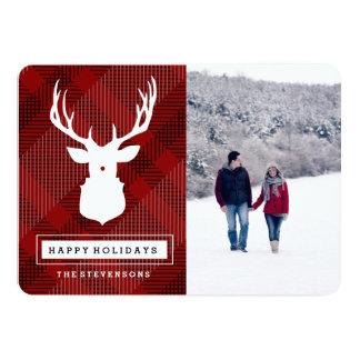 RUSTIC DEER  HOLIDAY PLAID CARD カード