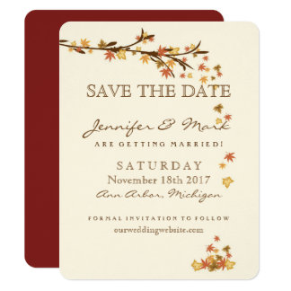 Rustic Fall Leaves Wedding Save the Date カード