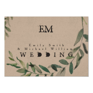 Rustic Green Leaves Wedding Kraft Paper Invitation カード
