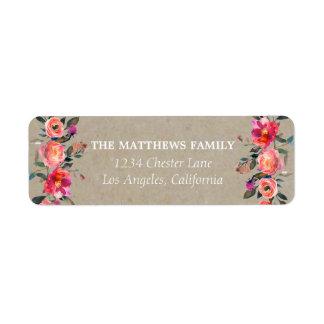 Rustic Kraft Floral Address Labels ラベル