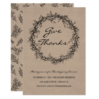 Rustic Kraft Give Thanks Thanksgiving Dinner Card カード