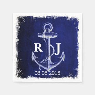 rustic Navy Blue anchor nautical wedding スタンダードカクテルナプキン