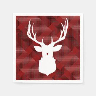 Rustic Plaid Deer   HOLIDAY NAPKINS スタンダードカクテルナプキン