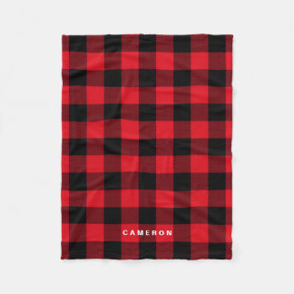 Rustic Red Plaid Pattern Holiday Personalized フリースブランケット