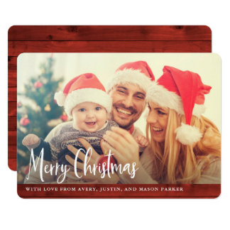 Rustic Red Wood | Merry Christmas Photo カード