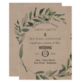 Rustic Watercolor Leaf Kraft Wedding Invitation カード