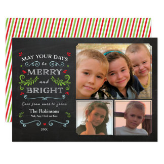 Rustic Whimsical Chalkboard Holiday 3-Photo Card カード