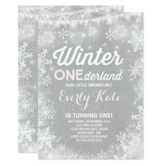 Rustic Winter ONEderland Birthday Invitation カード