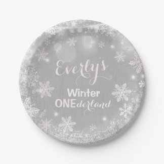 """Rustic Winter ONEderland Paper Plate 7"""" Plate ペーパープレート"""