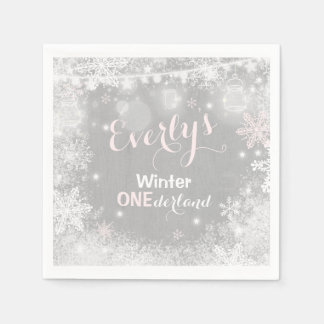 Rustic Winter ONEderland Party Napkin スタンダードカクテルナプキン