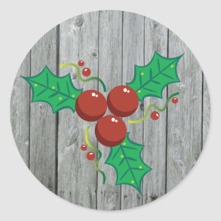 Rustic Wood Holly Berries Christmas Holiday ラウンドシール