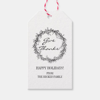 Rustic Wreath Give Thanks Thanksgiving Gift Tags ギフトタグ