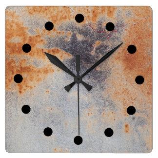 Rusty grunge Clock スクエア壁時計