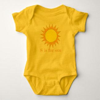 Sは日曜日の黄色い夏明るい光線の日光のためです ベビーボディスーツ
