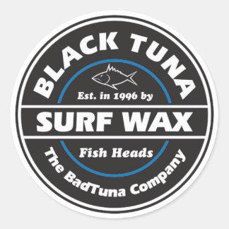 S103 -黒いマグロの波のワックスのステッカー ラウンドシール
