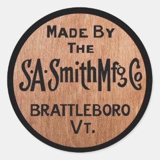 S.A.Smith Mfg. Co.のヴィンテージのロゴのステッカーによって作られる ラウンドシール