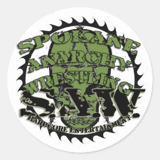 """S.A.Wのスカルのロゴ3""""円形のステッカー ラウンドシール"""