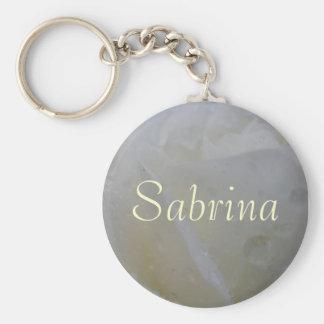 Sabrinaのかわいらしい白いバラの名前をカスタムするKeychain キーホルダー