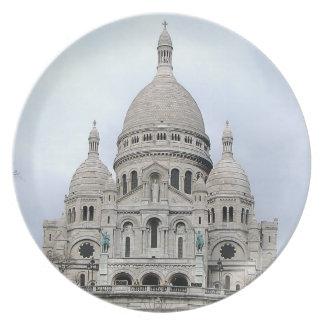 Sacre Coeur deパリの写真が付いているスタイリッシュなプレート プレート
