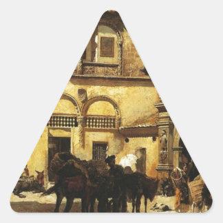 Sacristyおよび戸口の前の市場が開かれる広場 三角形シール