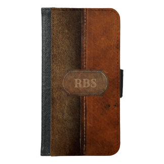 Saddle Up Faux Tanned Stitched Leather Monogram Galaxy S6 ウォレットケース