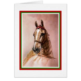 Saddlebredの馬のクリスマスカード カード