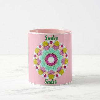 SADIEの~名前入りなキャンデーの歓喜のフラクタルの~ マグカップ