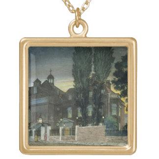 Sadlerの井戸1826年(着色された版木、銅版、版画) ゴールドプレートネックレス