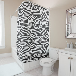 Safari Animal Zebra Print Shower Curtain シャワーカーテン