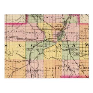 Saginaw郡、ミシガン州の地図 ポストカード