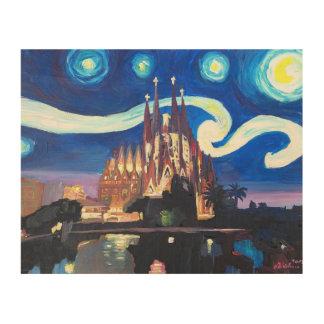 Sagrada Familiが付いているバルセロナの星明かりの夜 ウッドウォールアート