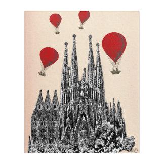 Sagrada Familiaおよび猛烈な気球 アクリルウォールアート