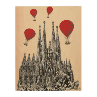Sagrada Familiaおよび猛烈な気球 ウッドウォールアート