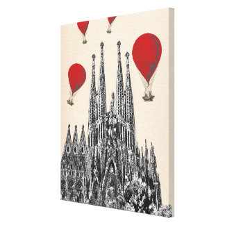 Sagrada Familiaおよび猛烈な気球 キャンバスプリント