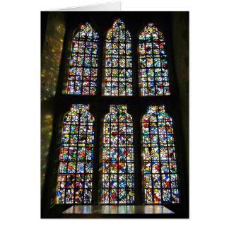 Sagrada Familiaのステンドグラスのバルセロナの写真 カード