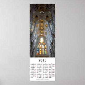 Sagrada Familia。 インテリア。 2015カレンダー ポスター