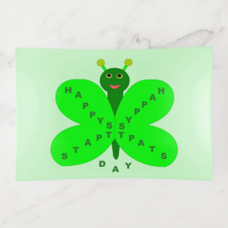 Saint patricks dayの蝶装身具の皿 トリンケットトレー