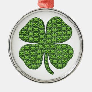 Saint patricks day 4の葉のクローバーの幸運 メタルオーナメント
