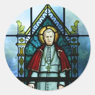 Saint Pius X法皇のステンドグラスの芸術 ラウンドシール