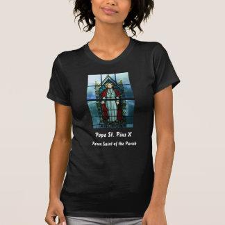 Saint Pius X法皇のステンドグラスの芸術 Tシャツ